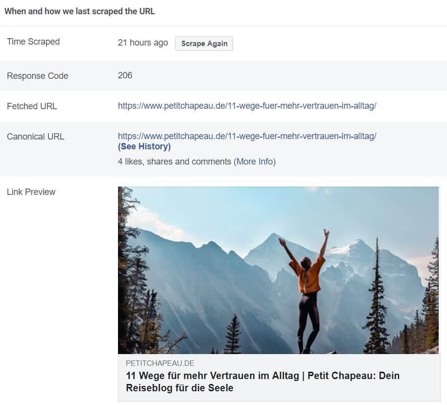 Facebook Debugger für Vorschaubilder