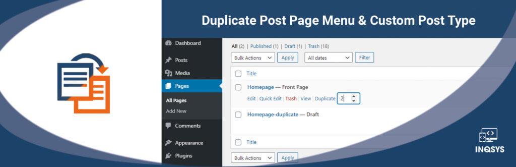 Duplicate Post Page Menu & Custom Post Type